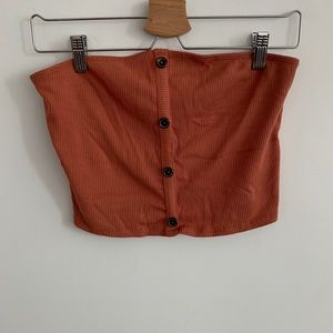 Active USA-Buttoned Crop Top Burnt Orange
